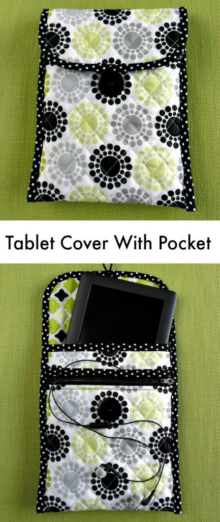 How to make a custom quilted tech/tablet cover with pocket for your earbuds or charger. Nice idea to have the zippered pocket.