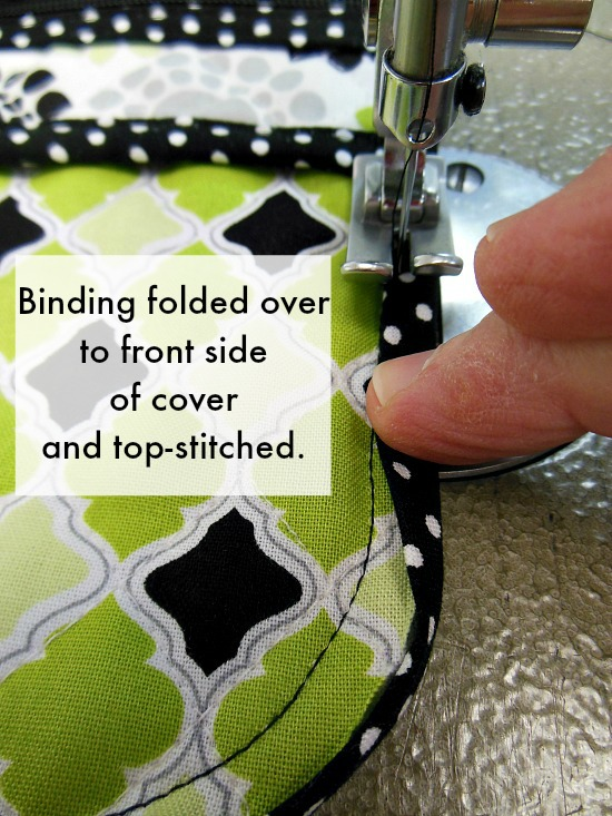 binding on face of cover