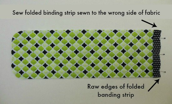 binding strip sewn