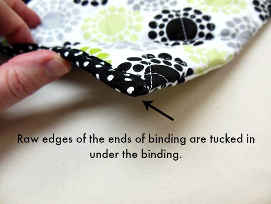 raw edges tucked